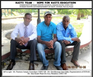 l-r Frantzco Joseph, Gentilhomme Jean-Gilles, Jean-Ernest Point-du-Jour, leadership team for scholarship program)
